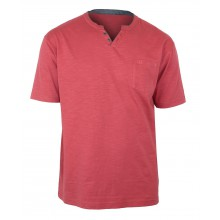 TEE3020C TEE SHIRT COL OUVERT FANTAISIE ROUGE