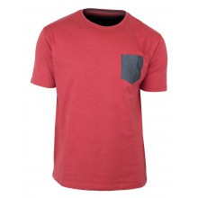 TEE3022A TEE SHIRT 1 POCHE CONTRASTE ROUGE